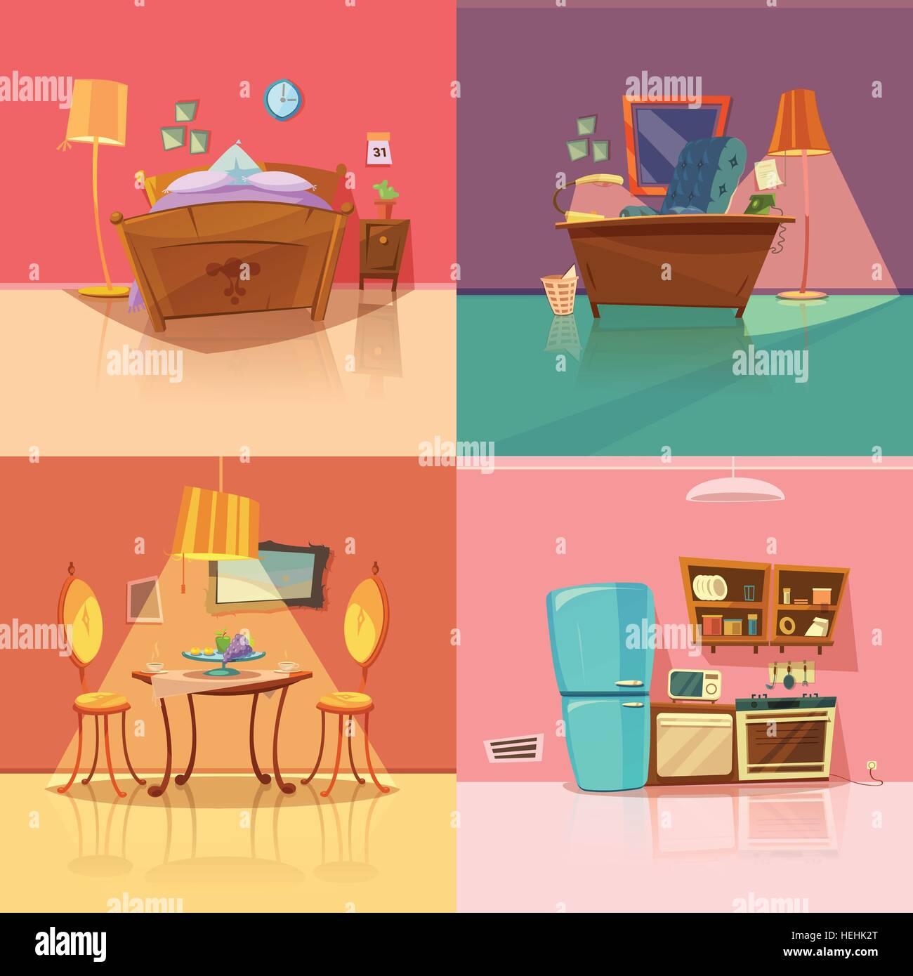 Interior Retro Conjunto retro interior con dormitorio comedor y cocina office caricatura ilustracin vectorial aislado Ilustracin del Vector