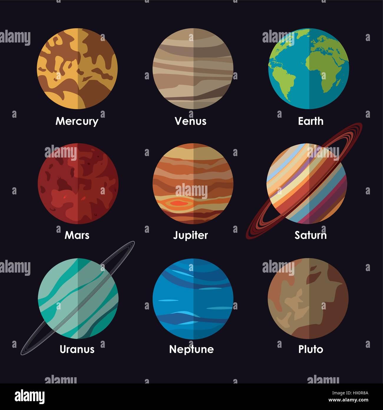Los Planetas Del Sistema Solar Con Nombres Ilustracion Del