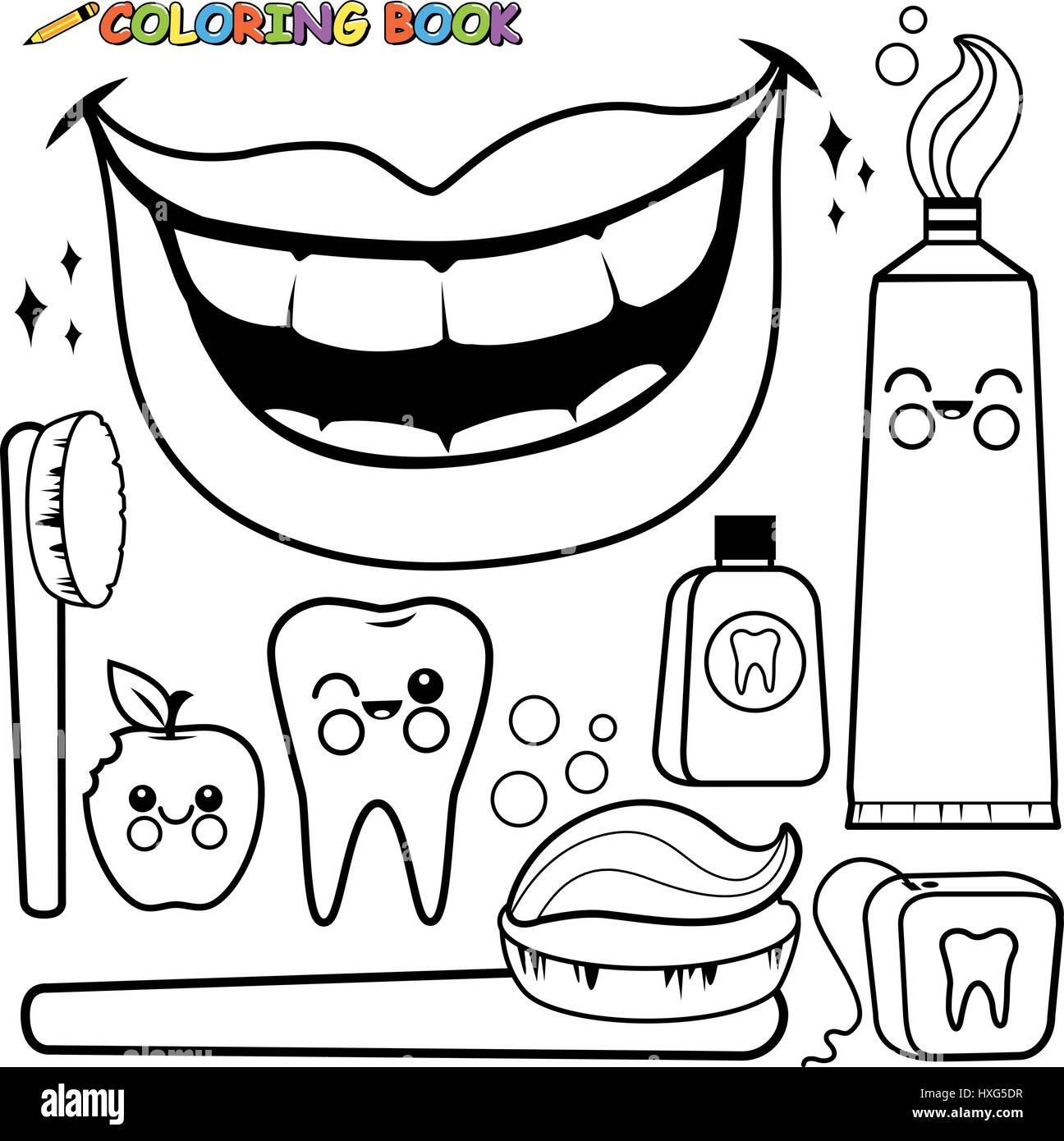 Vector De La Higiene Dental Pagina De Coloracion Blanco Y