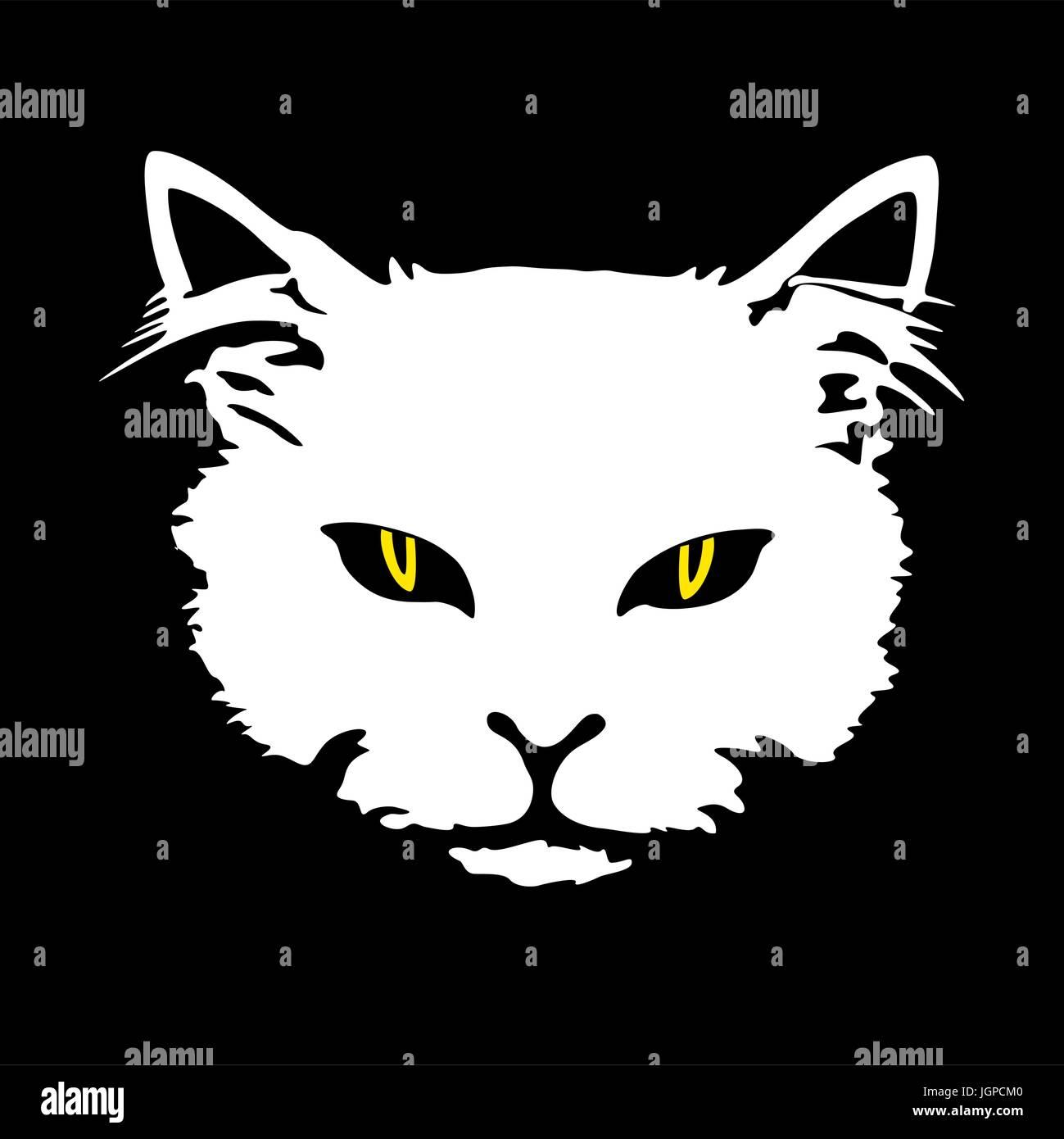 Silhouette Gato Blanco Rostro Con Ojos Amarillos Imprimir Tatuaje