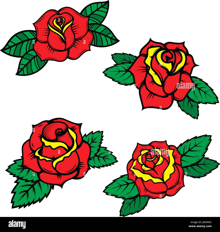 Juego De La Vieja Escuela Estilo Tatuaje Rosas Aislado Sobre Fondo