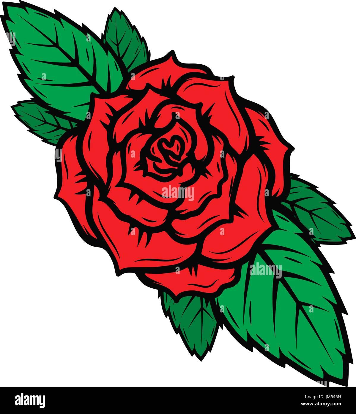 La Vieja Escuela Estilo Tatuaje Rosas Aislado Sobre Fondo Blanco