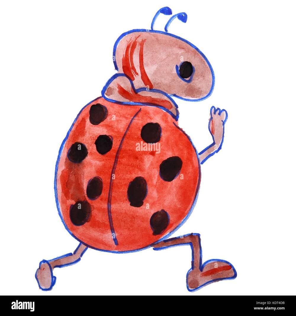 medium resolution of dibujo acuarela kids cartoon ladybug sobre un fondo blanco imagen de stock