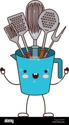 cocina utensilios animados dibujos jarra imagen silueta colorida alamy