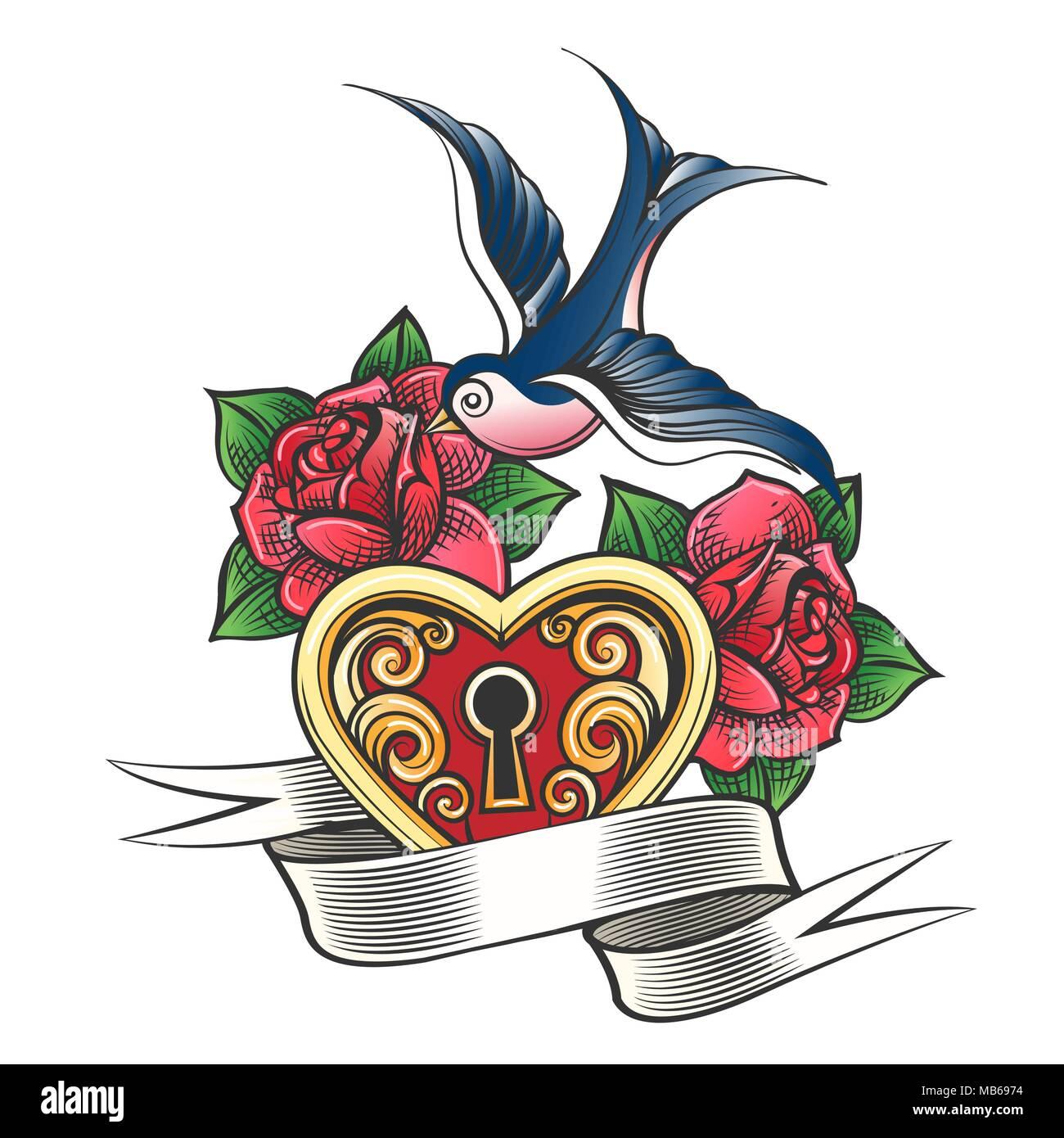 Bloqueo En La Forma De Un Corazón Con Tragar Rosas Flores Y Una