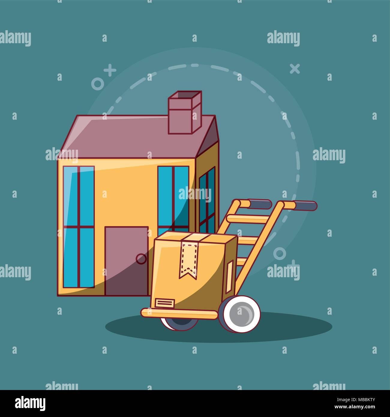 Entrega Gratuita Diseno Con Casa Y Carro De Mano House Sobre