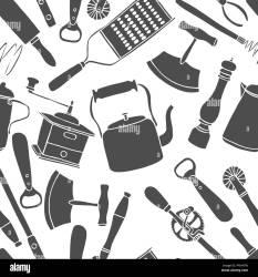 cocina negro blanco cartoon dibujos kitchen utensilios utensils chef tools pattern fondo antiguos conjunto perfecta animados alamy estilo knife