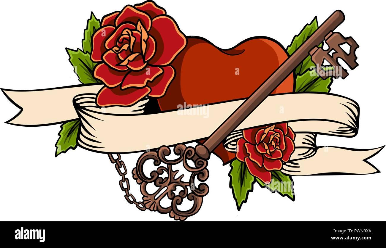 Corazón Entrelazados En Escalada Rose Tattoo Corazón Entrelazados