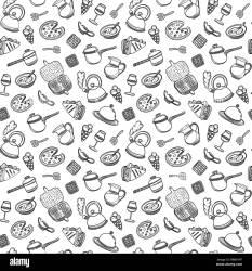 Cute dibujos animados de alimentos y utensilios de cocina