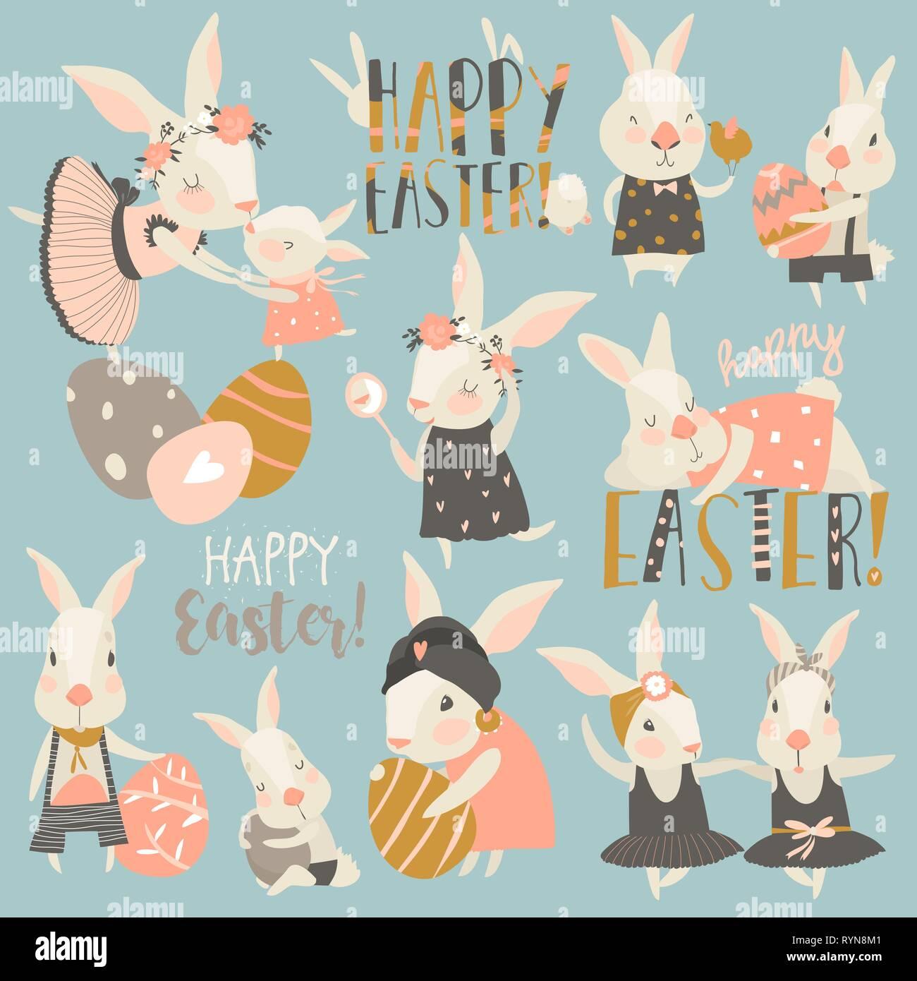 hight resolution of linda conejita con conejo y huevos de pascua imagen de stock