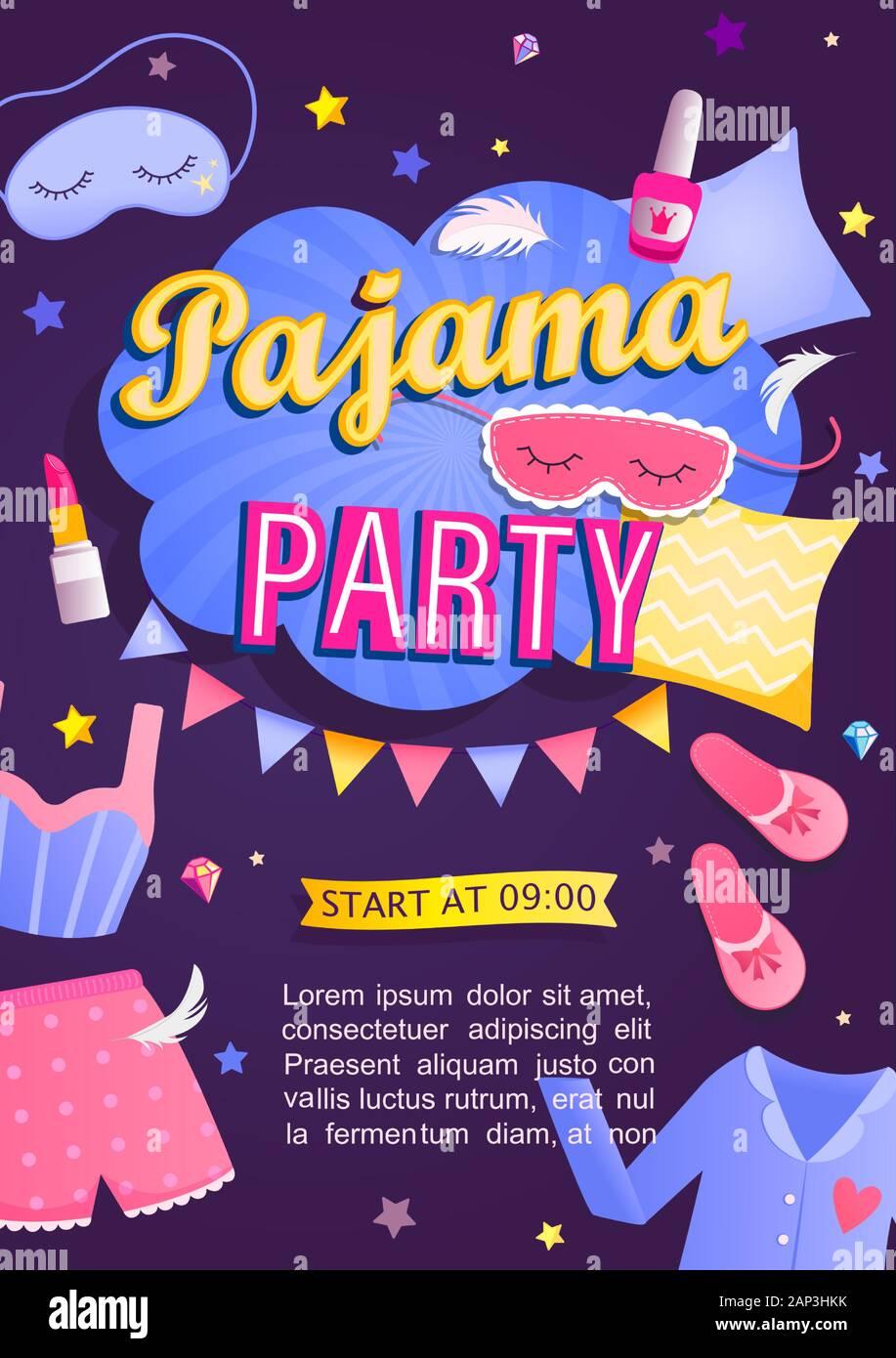 https www alamyimages fr carte d invitation de la fete de pyjama image340599159 html