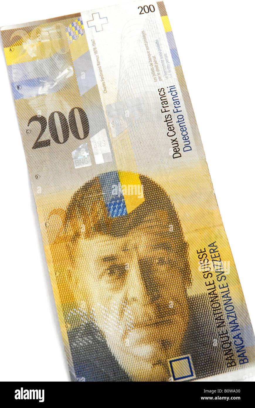 Billet De 200 Francs : billet, francs, Billet, Francs, Suisses,, Projet, Photo, Stock, Alamy