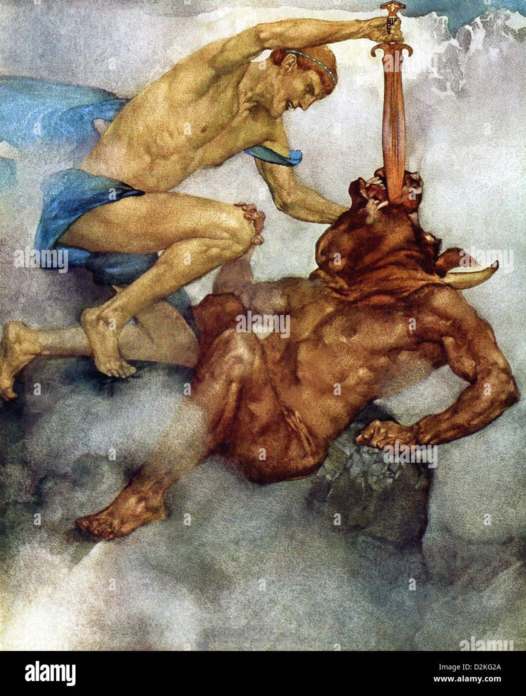 Qui A Tué Le Minotaure : minotaure, Mythologie, Grecque,, Thésée, Héros, Légendaire, D'Athènes,, Minotaure,, Minos, Crète, Photo, Stock, Alamy