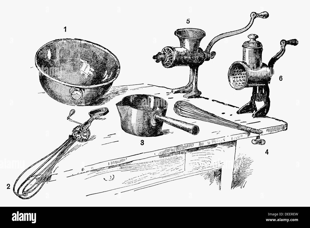 https www alamyimages fr des ustensiles de cuisine un dessin ca 1900 image60562065 html