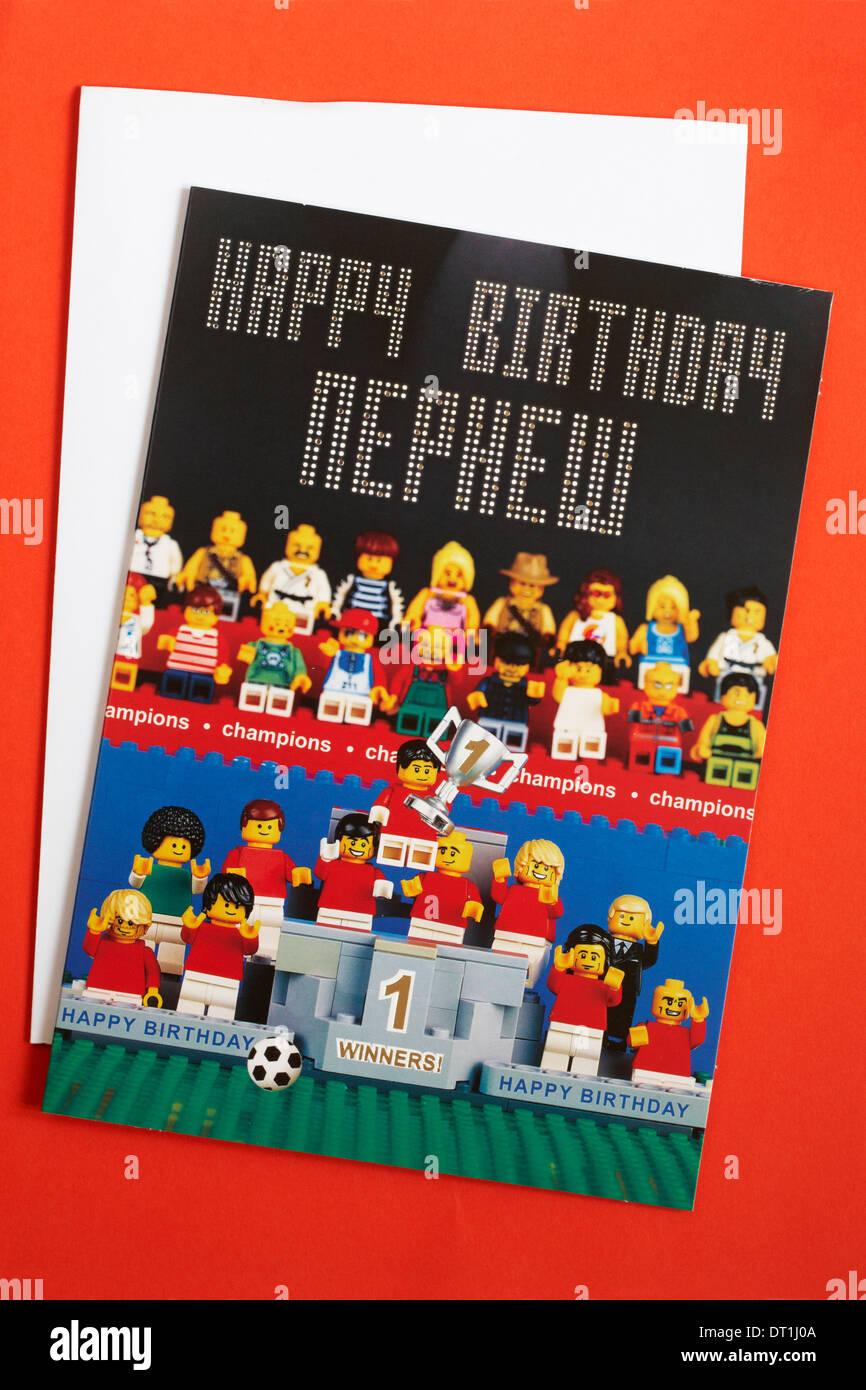 https www alamyimages fr joyeux anniversaire carte d anniversaire lego neveu de marks spencer avec enveloppe isole sur fond rouge image66418922 html