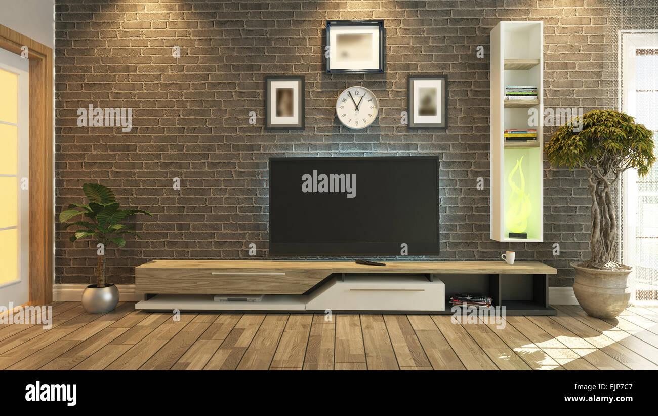 https www alamyimages fr photo image le rendu 3d salle de tv salon ou salle de sejour avec mur de brique et de l usine design de television 80394055 html
