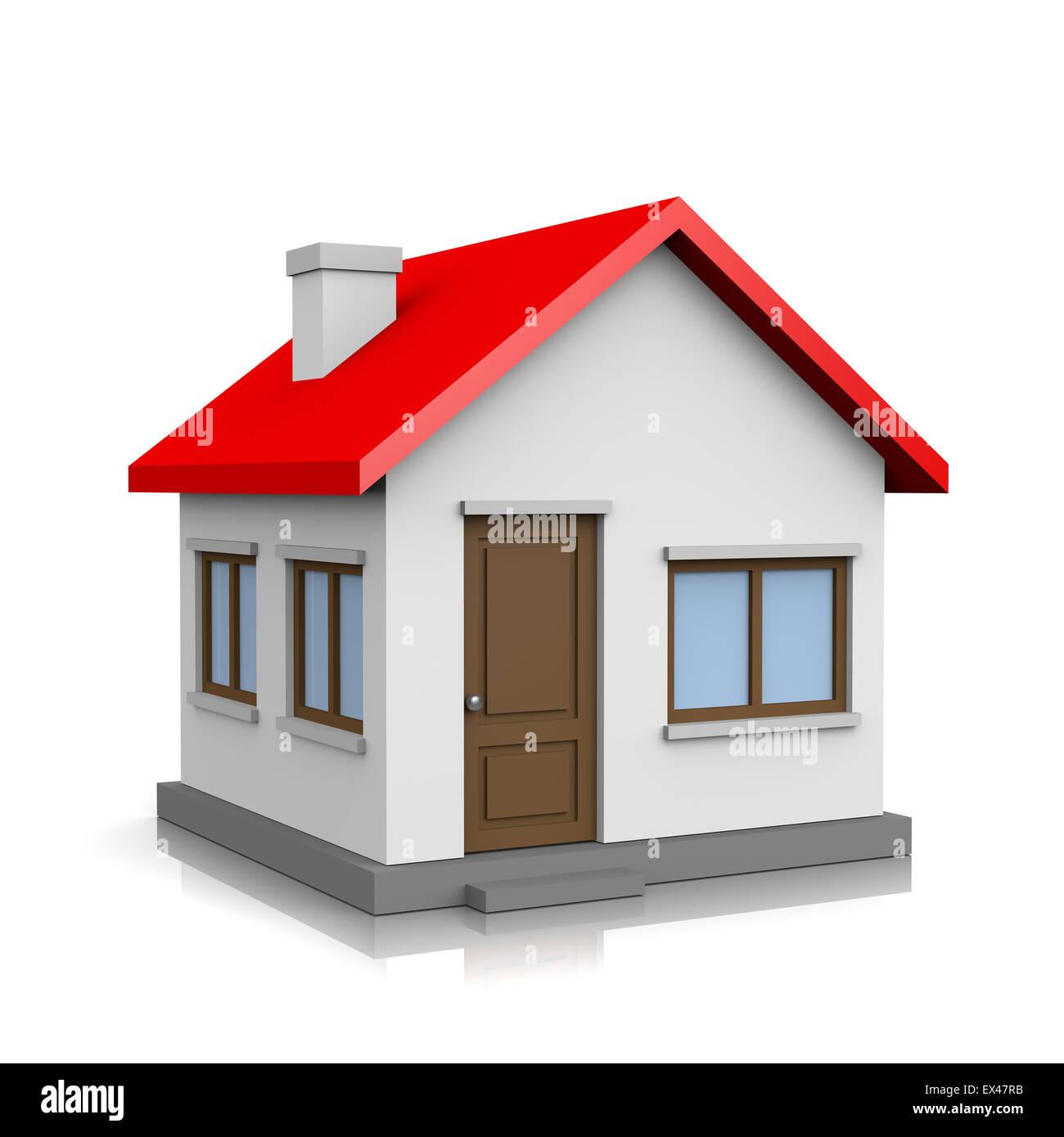https www alamyimages fr photo image 3d blanc maison au toit rouge sur fond blanc illustration 84916479 html