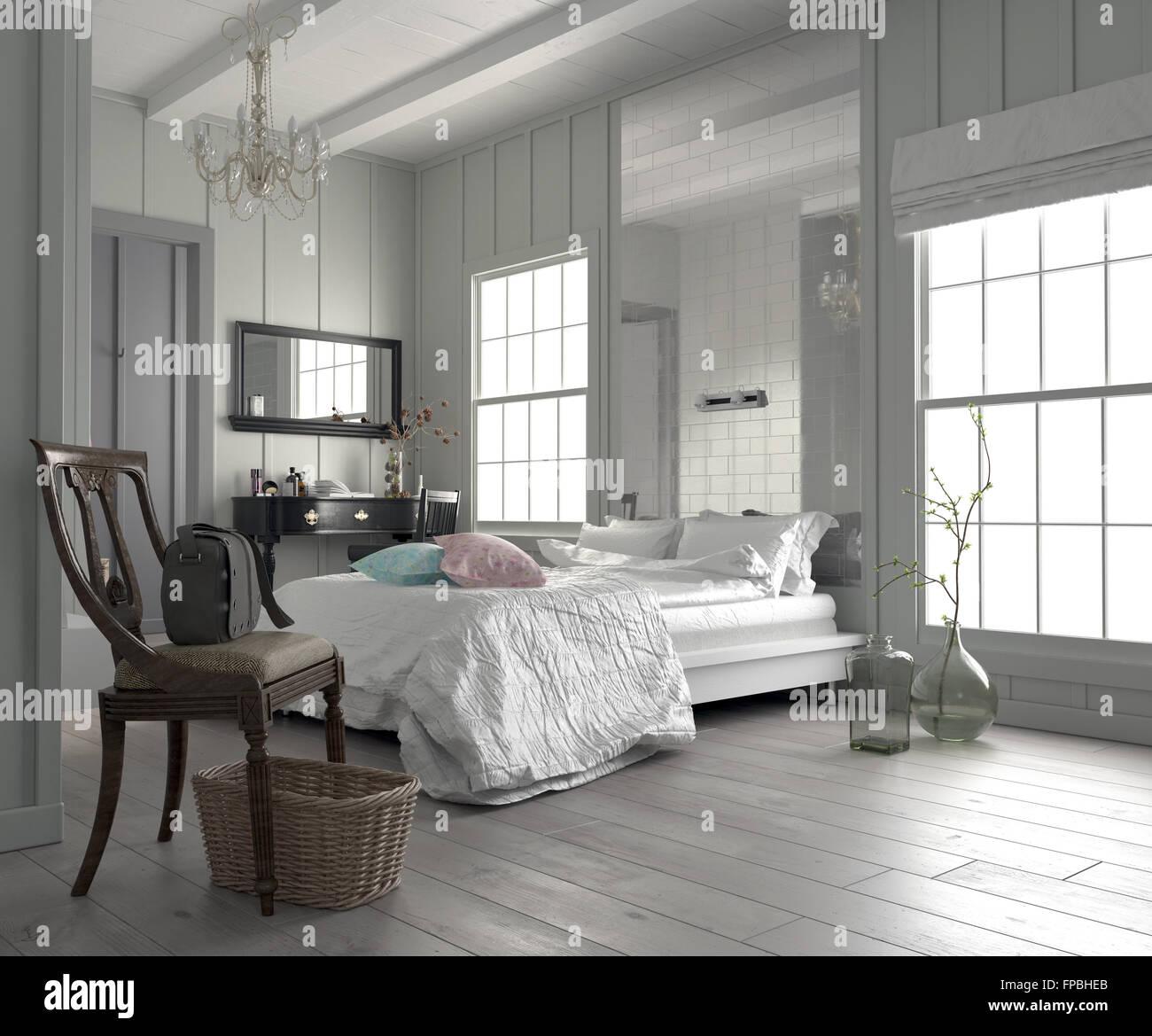 https www alamyimages fr photo image grande chambre moderne chambre blanche interieur avec un lit king size flanquee de deux fenetres une coiffeuse avec miroir et une simple 99829475 html