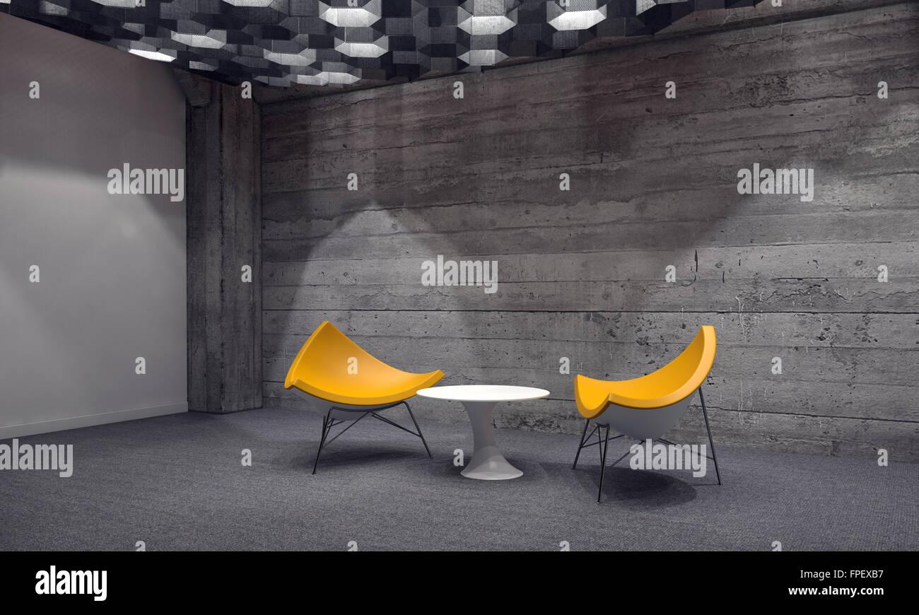 coin salon contemporain dans une salle d attente avec deux chaises triangulaire jaune modulaire autour d une petite table en face d un mur en briques de