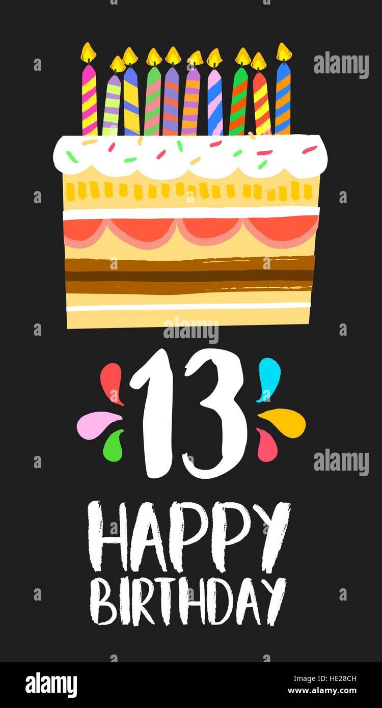 https www alamyimages fr photo image joyeux anniversaire numero 13 cartes de voeux pendant treize ans dans fun art style avec gateau et bougies invitation anniversaire felicitations 129128289 html