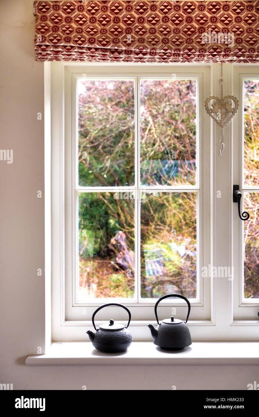 Chassis De Fenetre En Blanc Avec L Appui De Fenetre Avec 2 Petites Marmites En Metal Vue Sur Le Jardin A Travers La Vitre Est D Arbustes Photo Stock Alamy