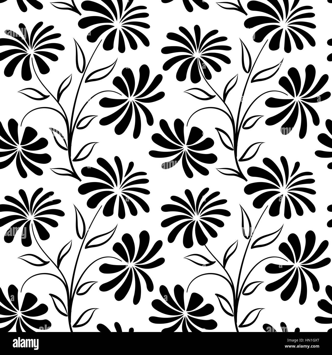 https www alamyimages fr photo image motif transparent floral bouquet de fleurs arriere plan floral seamless texture de fleurs de camomille s epanouir papier peint carrelage noir et blanc 133415600 html