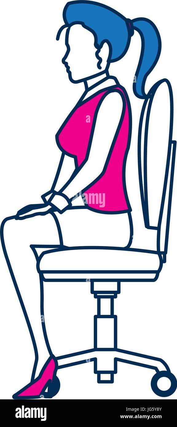 https www alamyimages fr photo image femme d affaires personne assise chaise de bureau en bleu et caractere fuchsia 147648619 html