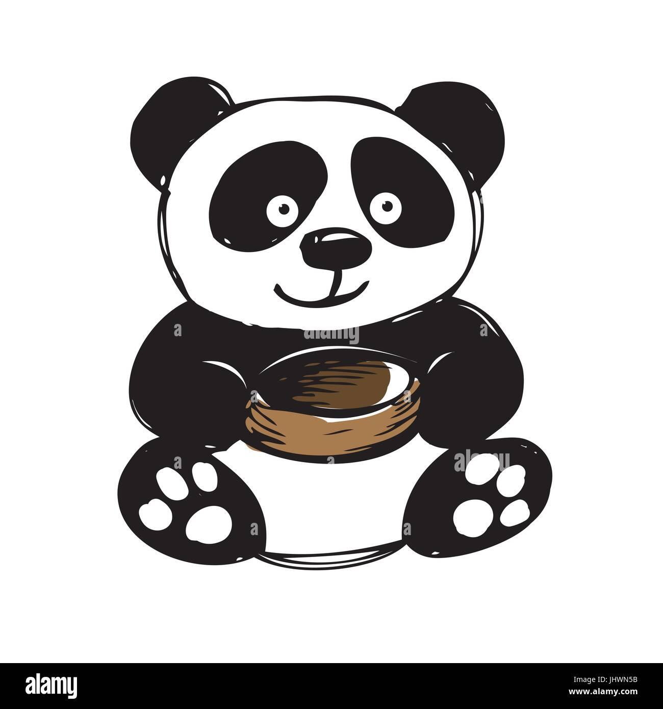 https www alamyimages fr photo image mignon petit panda isole sur blanc dessin a la main vector 148697511 html