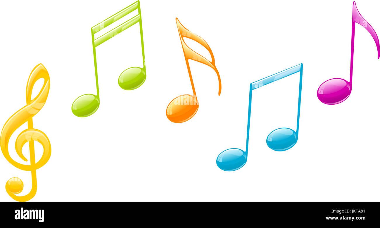 https www alamyimages fr photo image des notes de musique en couleurs sur une gamme musicale 149896321 html