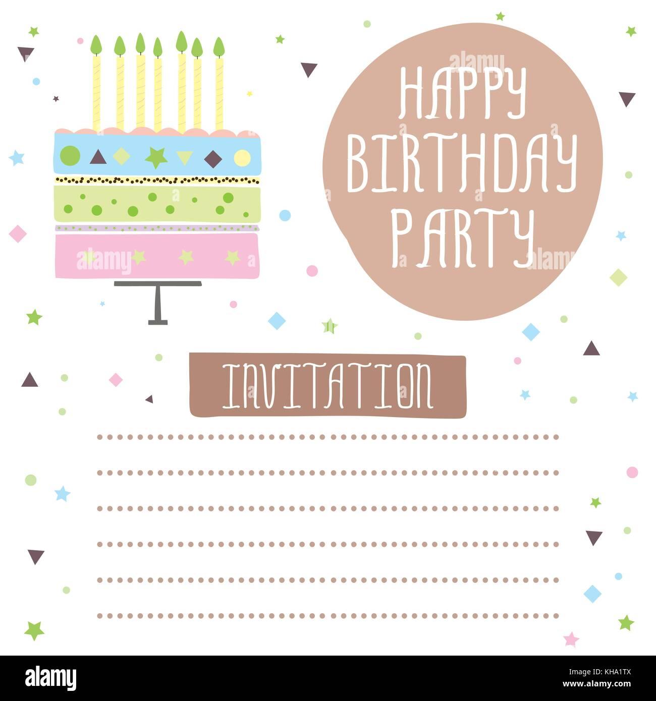 https www alamyimages fr photo image joyeux anniversaire jolie carte d invitation avec gateau bougies vector illustration 165563466 html