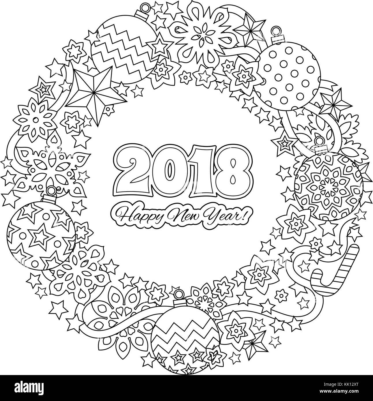 https www alamyimages fr photo image carte de felicitations bonne annee 2018 couronne composee d elements de fete de noel page a colorier pour adulte noir et blanc de style zentangle illustation inspire 166596048 html