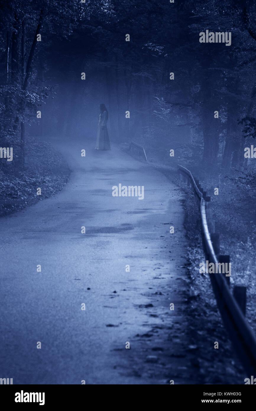 Bruit De La Foret La Nuit : bruit, foret, Mystérieuse, Femme, Ghost, Blanche, Forêt, Brumeuse,, Vintage, Filtre, Bruit, Routier, Photo, Stock, Alamy