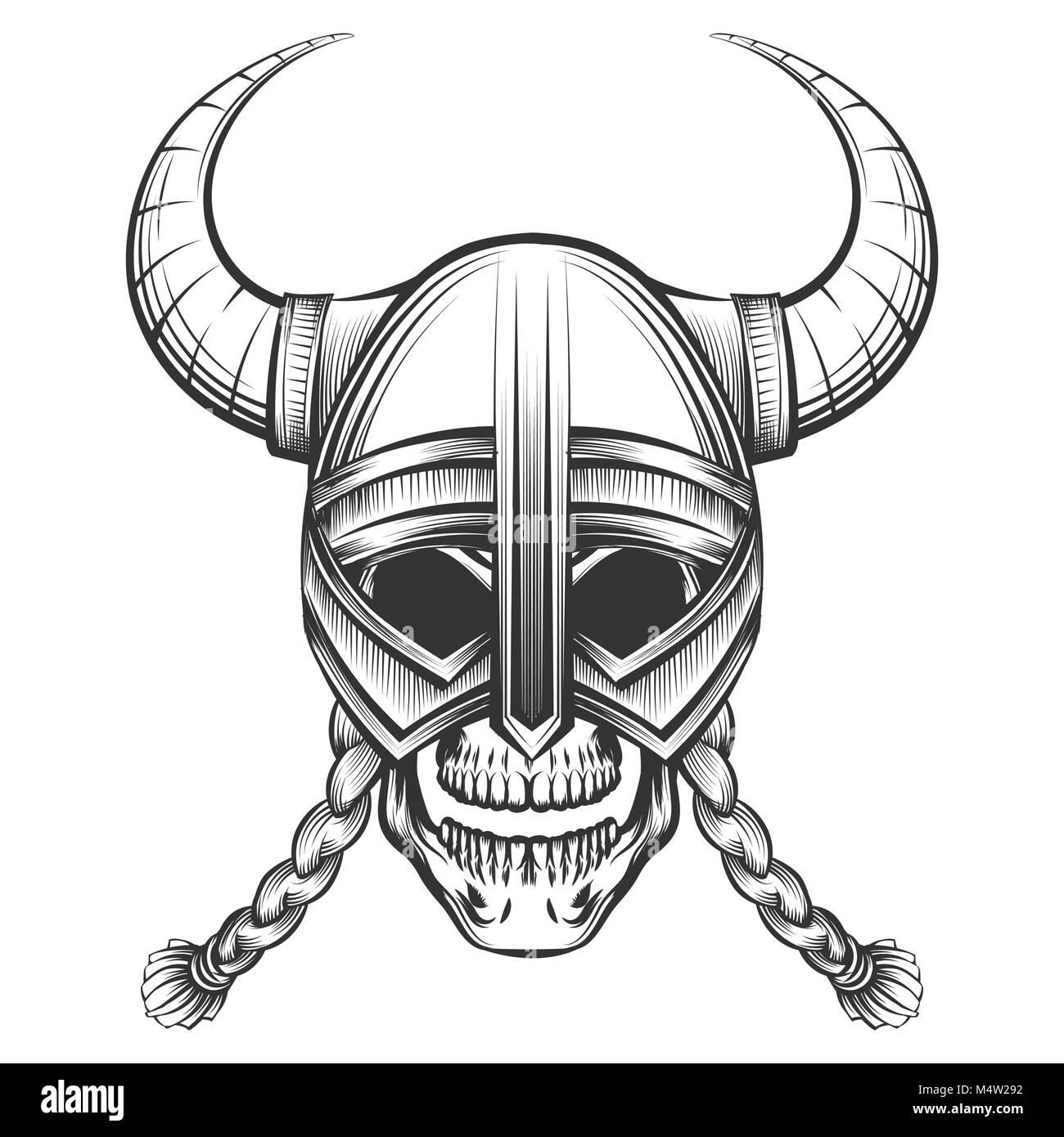 Dans la bd astérix, sur les déguisements, le dessin animé vic le viking ou encore le jeu for honor, il est partout. Crane Humain En Casque Viking Tirees Dans Leur Gravure Vector Illustration Image Vectorielle Stock Alamy