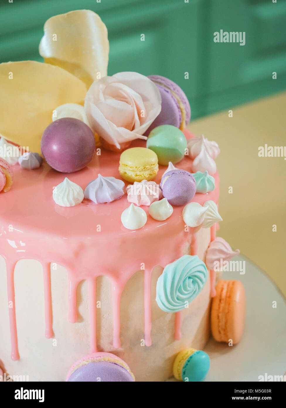 https www alamyimages fr photo image rose mousse recouverte de velours chocolat et glacage miroir decore avec des meringues macarons et roses 175528299 html