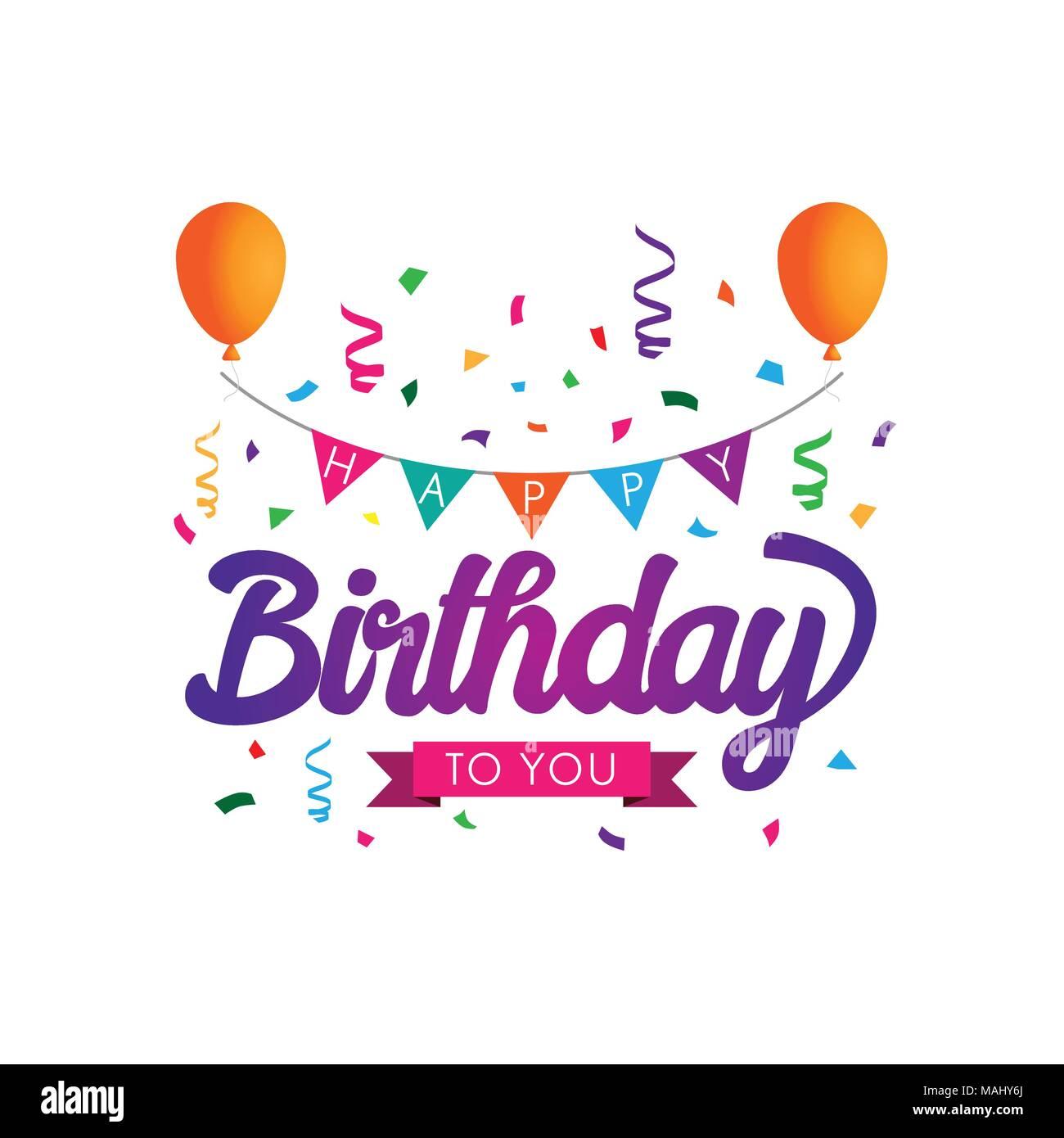 https www alamyimages fr joyeux anniversaire colore typographiques pour la conception graphique de l affiche banniere modele carte d anniversaire carte d invitation ou de voeux vector illustration image178644778 html