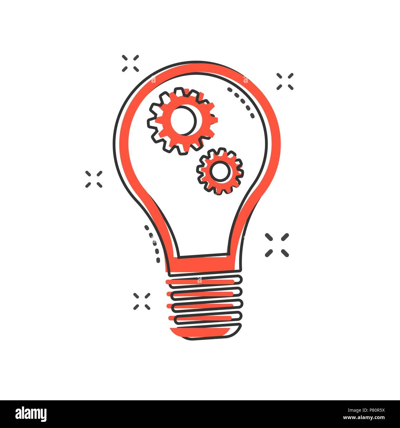 https www alamyimages fr cartoon ampoule avec icone d engrenage dans le style comique idee lampe illustration pictogramme splash lampe concept d entreprise image211459862 html