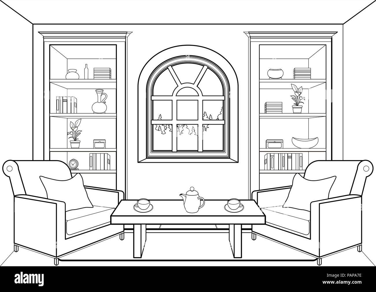 https www alamyimages fr chambre avec grande fenetre contours television interieur lineaire contour dessin couleur noir et blanc illustration vectorielle salon armoires a livres image213161970 html