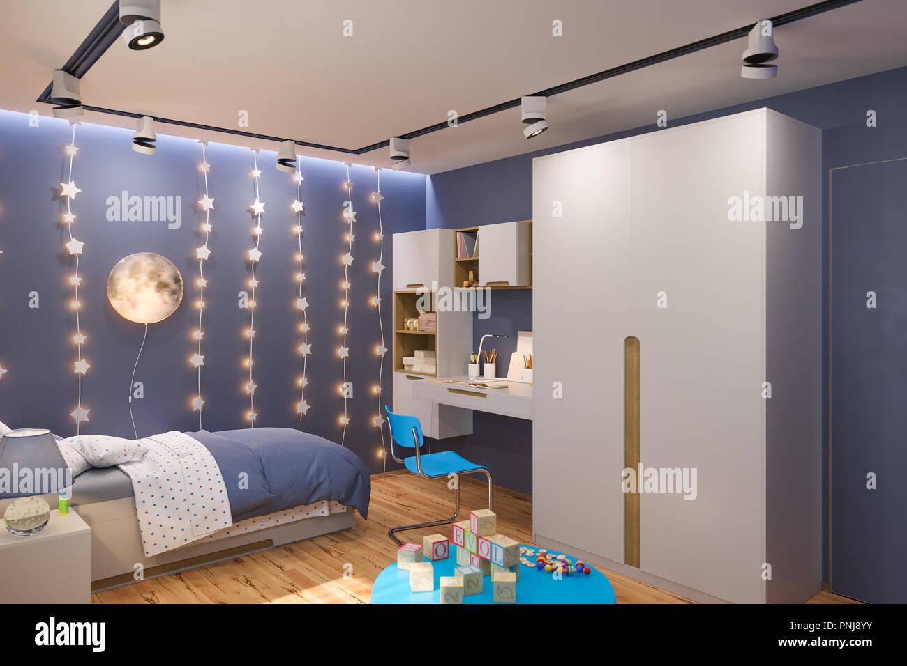 https www alamyimages fr 3d render of la chambre des enfants en couleur bleu nuit visualisation du concept de design d interieur chambre d enfant pour garcon dans un theme de l espace image219834383 html