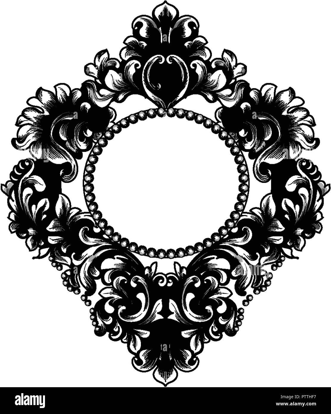 https www alamyimages fr cadre rond baroque vecteur riches ornements complexes de luxe francais miroir de style victorien decor royal image221816763 html