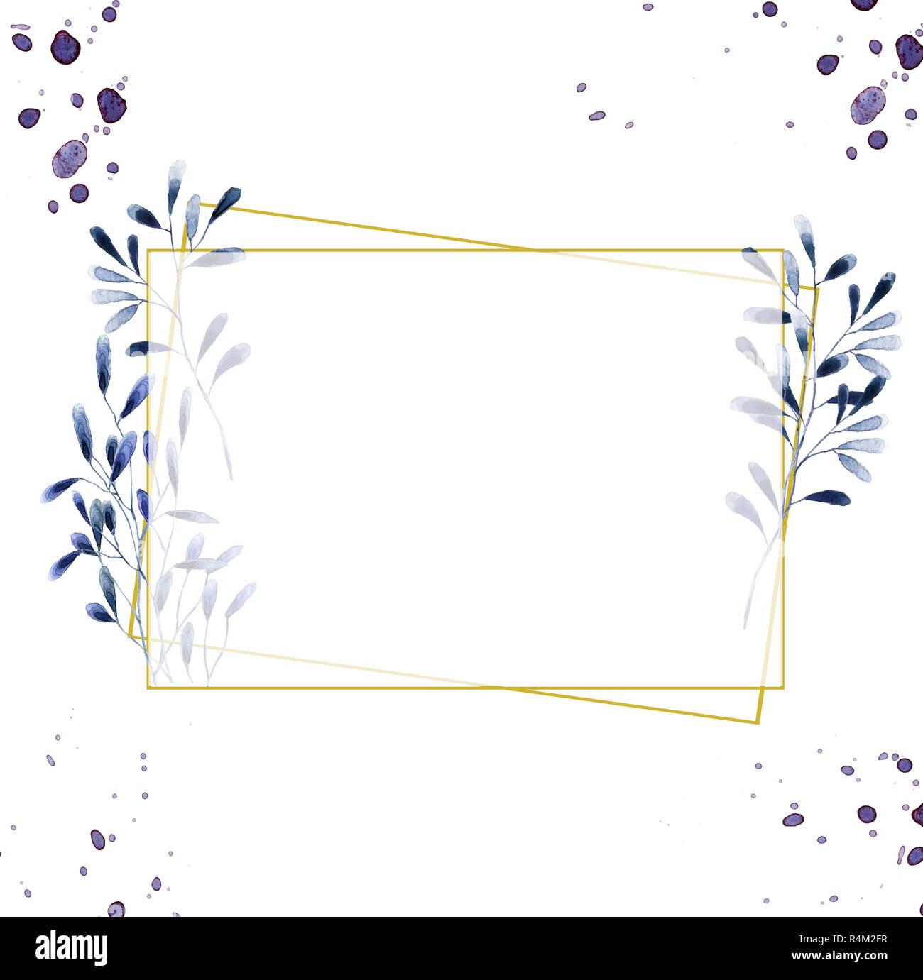 https www alamyimages fr invitation de mariage carte d olive inviter floral floral et geometrique magnolia cadre dore imprimer rectangle losange cadre arriere plan blanc image226634459 html