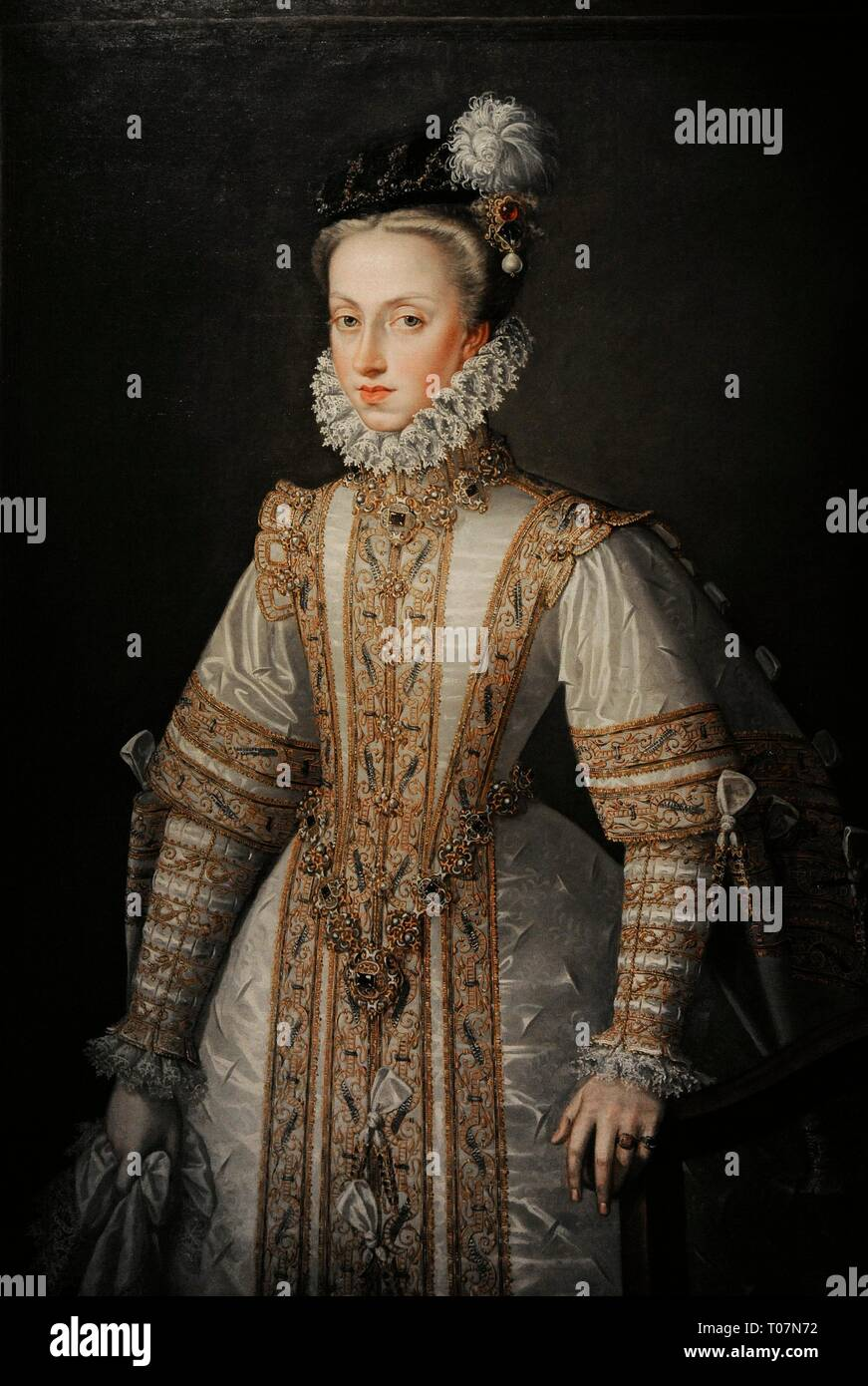 Anne D'autriche (1549-1580) : d'autriche, (1549-1580), L'Autriche, (1549-1580)., Reina, España,, Septima, Esposa, Felipe, Retrato, Alonso, Sánchez, Coello, (1531-1588),, Hacia, 1571., Museo, Lázaro, Galdiano., Madrid., España, Photo, Stock, Alamy