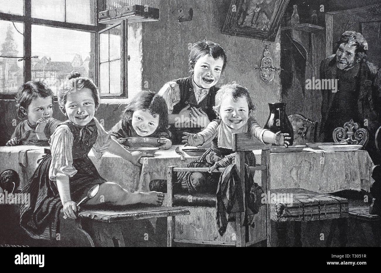 https www alamyimages fr l amelioration de la reproduction numerique vive de l alimentation se fait sur sur la table l enfant foule est heureux que la mere lui apporte de la nourriture a partir de l kurche hurra das essen kommt auf den tisch kinderschar freut sich die darauf dass die mutter das essen aus der bringt kurche imprimer a partir d un original du 19eme siecle image242793091 html