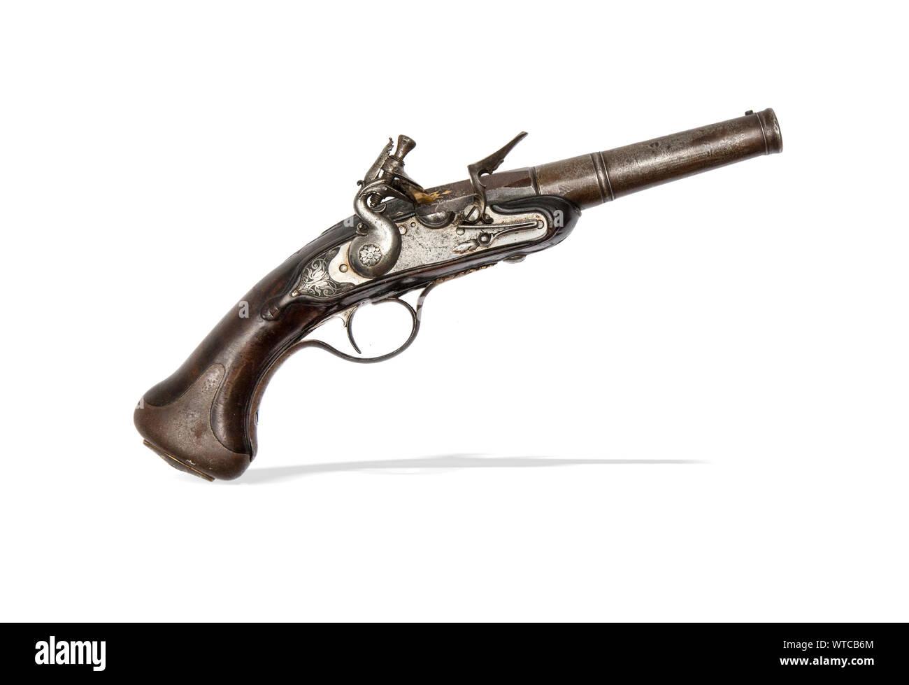 https www alamyimages fr le 18e siecle avec pistolet a silex ronde vis barils et gravee de verrous image273179500 html