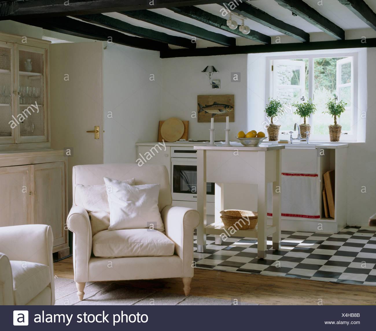 https www alamyimages fr noir blanc en carrelage blanc chalet cuisine ouverte sur un coin salon avec fauteuil blanc et citron vert lave commode image278206555 html