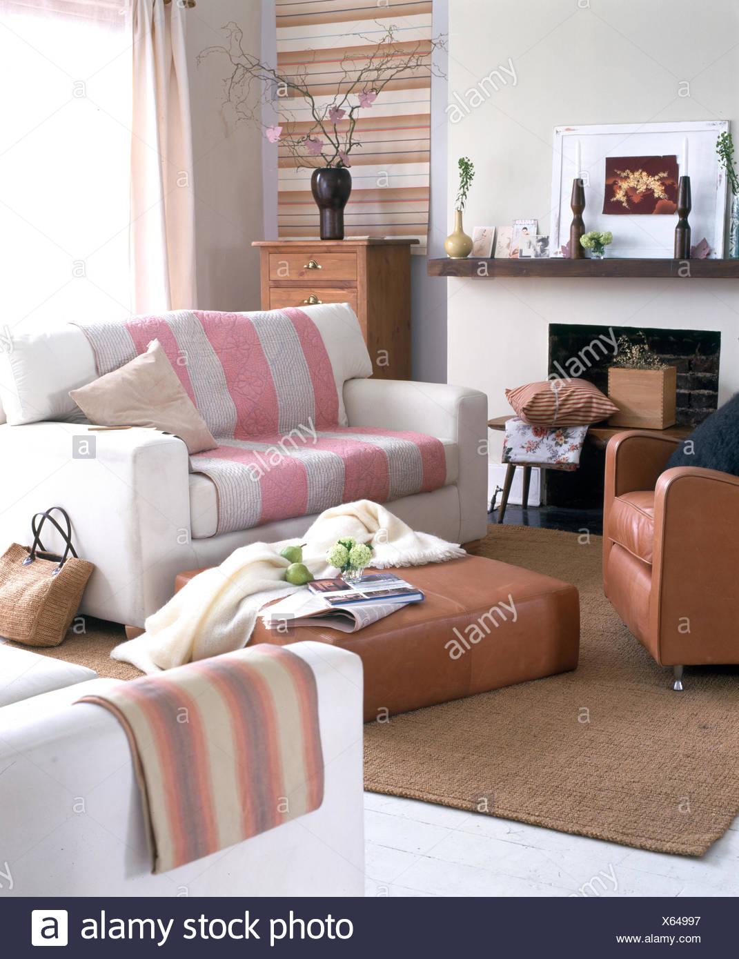 https www alamyimages fr petit salon moderne avec deux places canapes et fauteuil en cuir image279148947 html