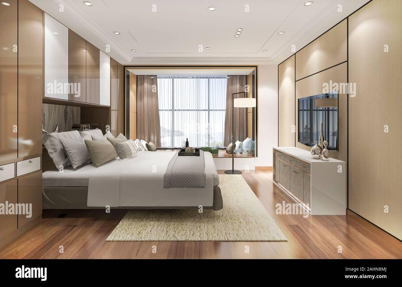 Piante e lampade a sospensione. 3d Rendering Di Lusso Camere Da Letto Moderne Suite In Hotel Foto Stock Alamy