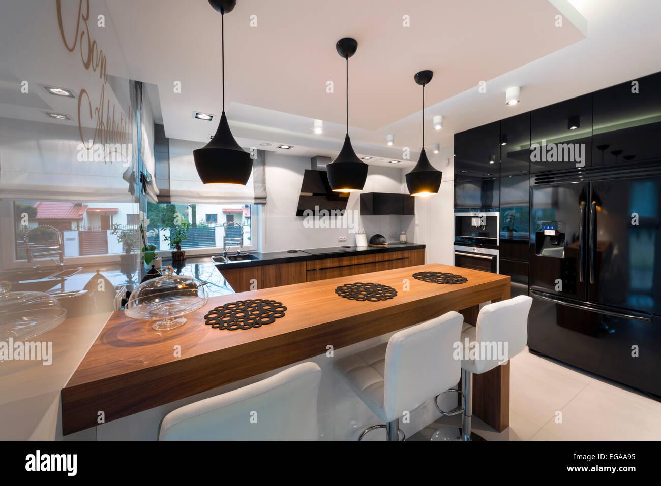 Cucina Moderna Nera E Legno Parete Attrezzata Bianca E Nera 588