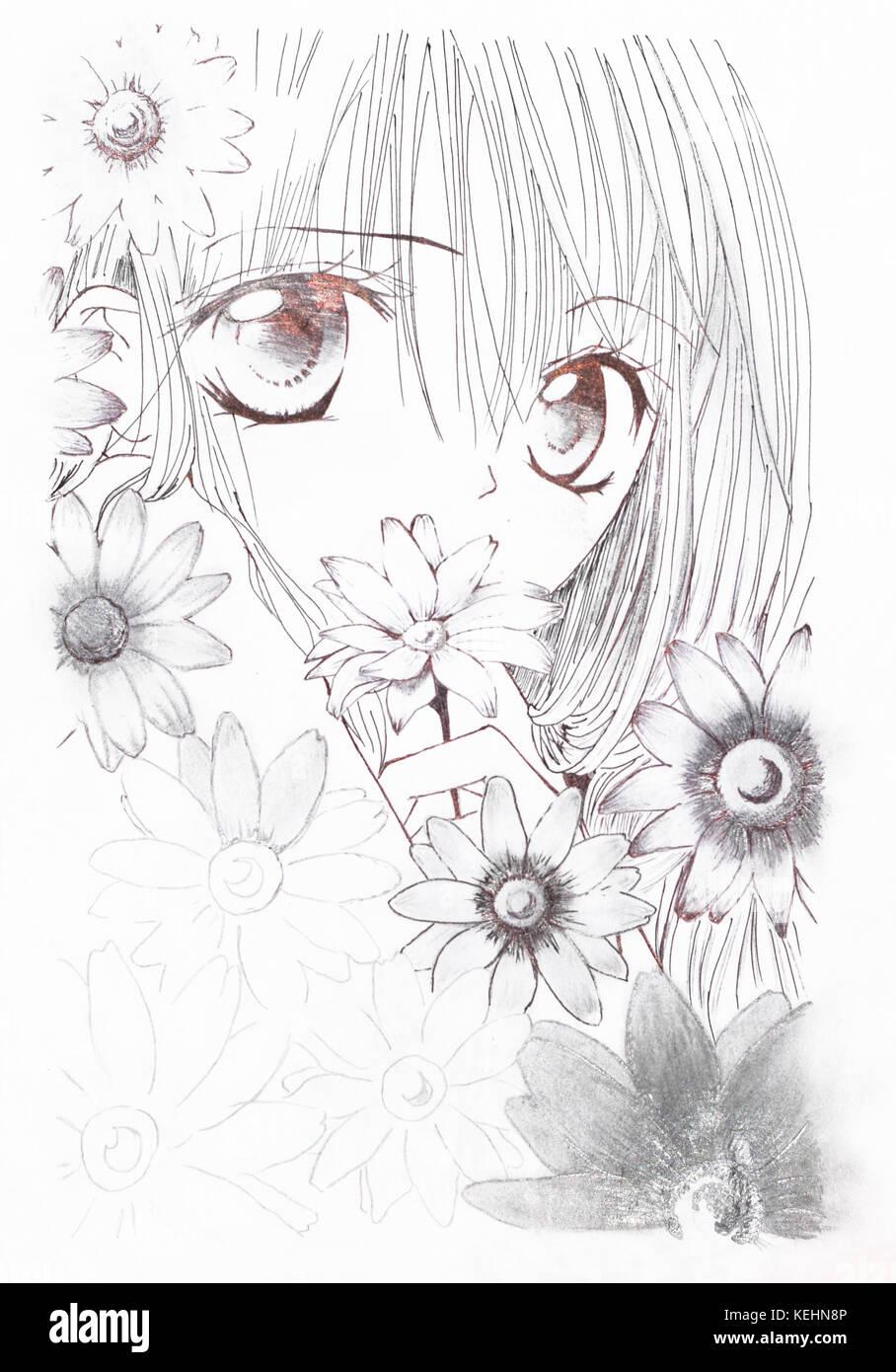 Disegni Di Fiori Giapponesi : disegni, fiori, giapponesi, Disegno, Stile, Anime., Ragazza, Fiori, Nella, Anime, Giapponese, Stock, Alamy
