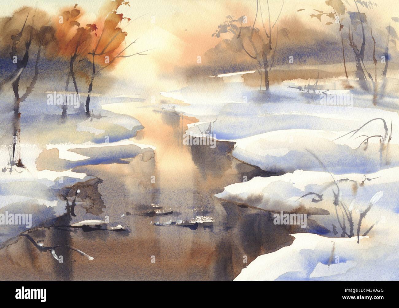 Paesaggio invernale con un acquerello di fiume Foto  Immagine Stock 174460456  Alamy