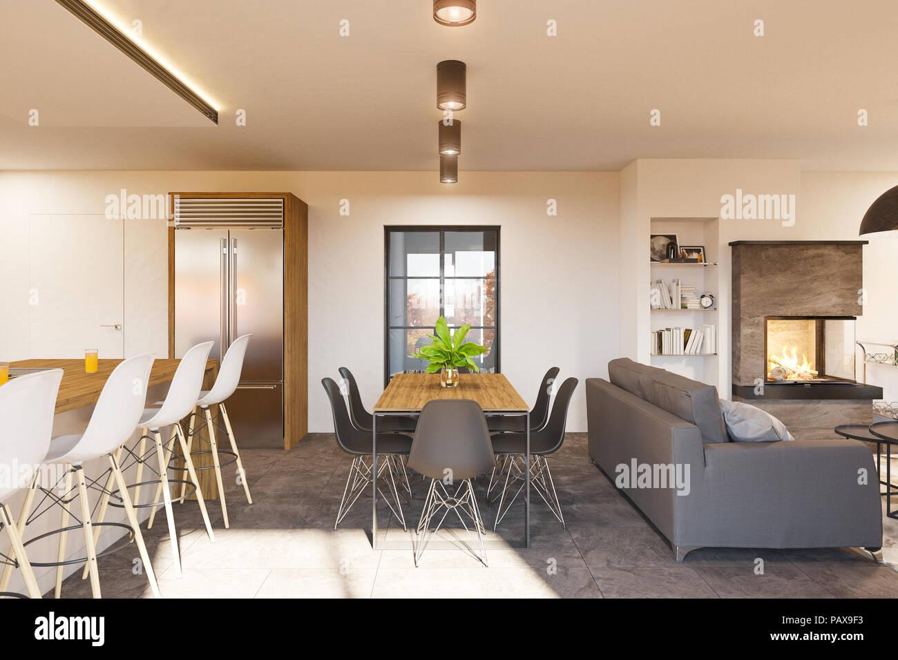 Mobile soggiorno olbia nero lucido con biocamino a due ante. 3d Render Soggiorno Moderno E Cucina Arredamento Con Camino Foto Stock Alamy